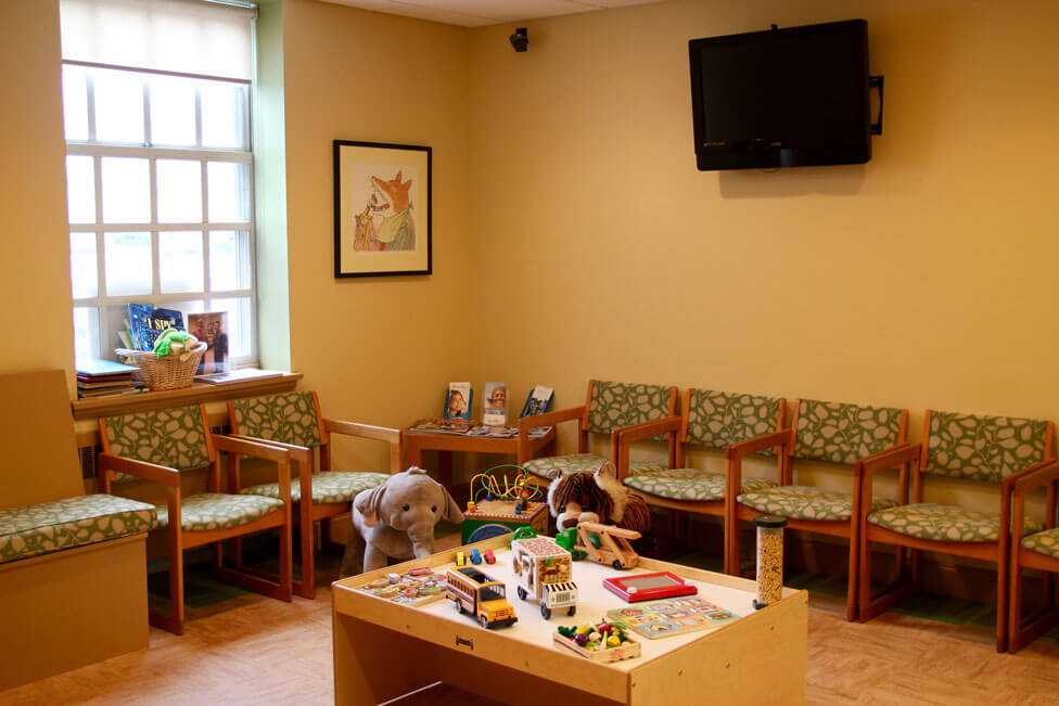 children's waiting room with toys