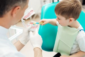 young boy at dental appointment