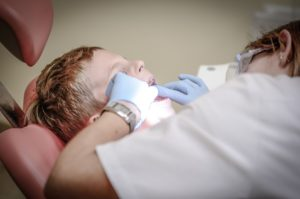 Young boy at pediatric dentist in Northampton.